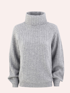 RIBBED CHUNKY CASHMERE TURTLENECK